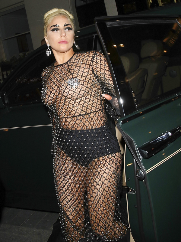 FAMEFLYNET - Lady Gaga Heads To The Box In London Wearing A Chainmail See Through Dress