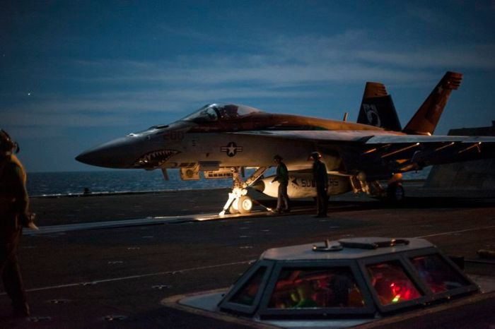 USS Carl Vinson night flight operations