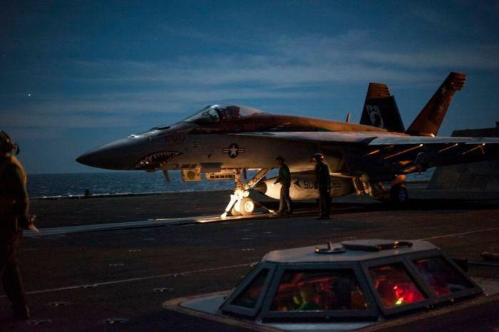 USS Carl Vinson night flight operations