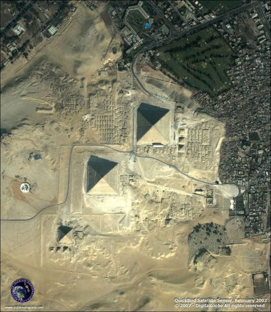 above 3 pyramids