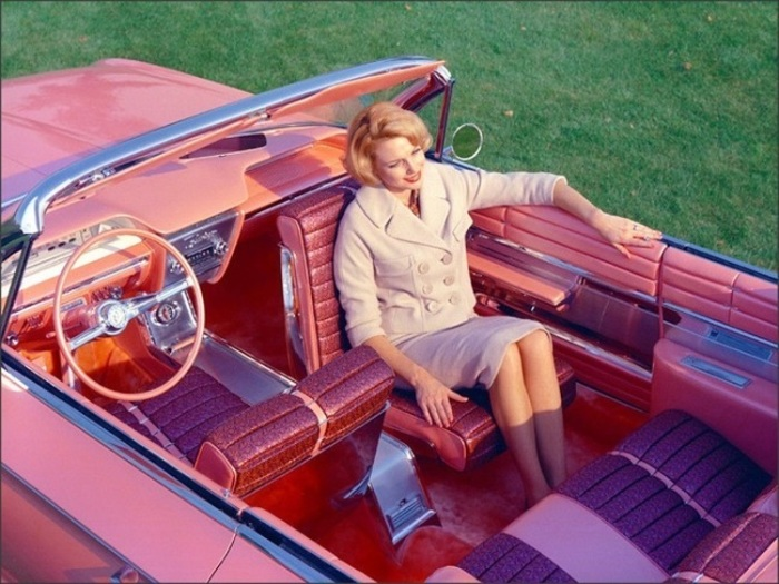 invent The 1961 Buick Flamingo with a rotating front seat. Who needs seat belts