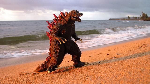 godzilla-action-figure-on-the-beach